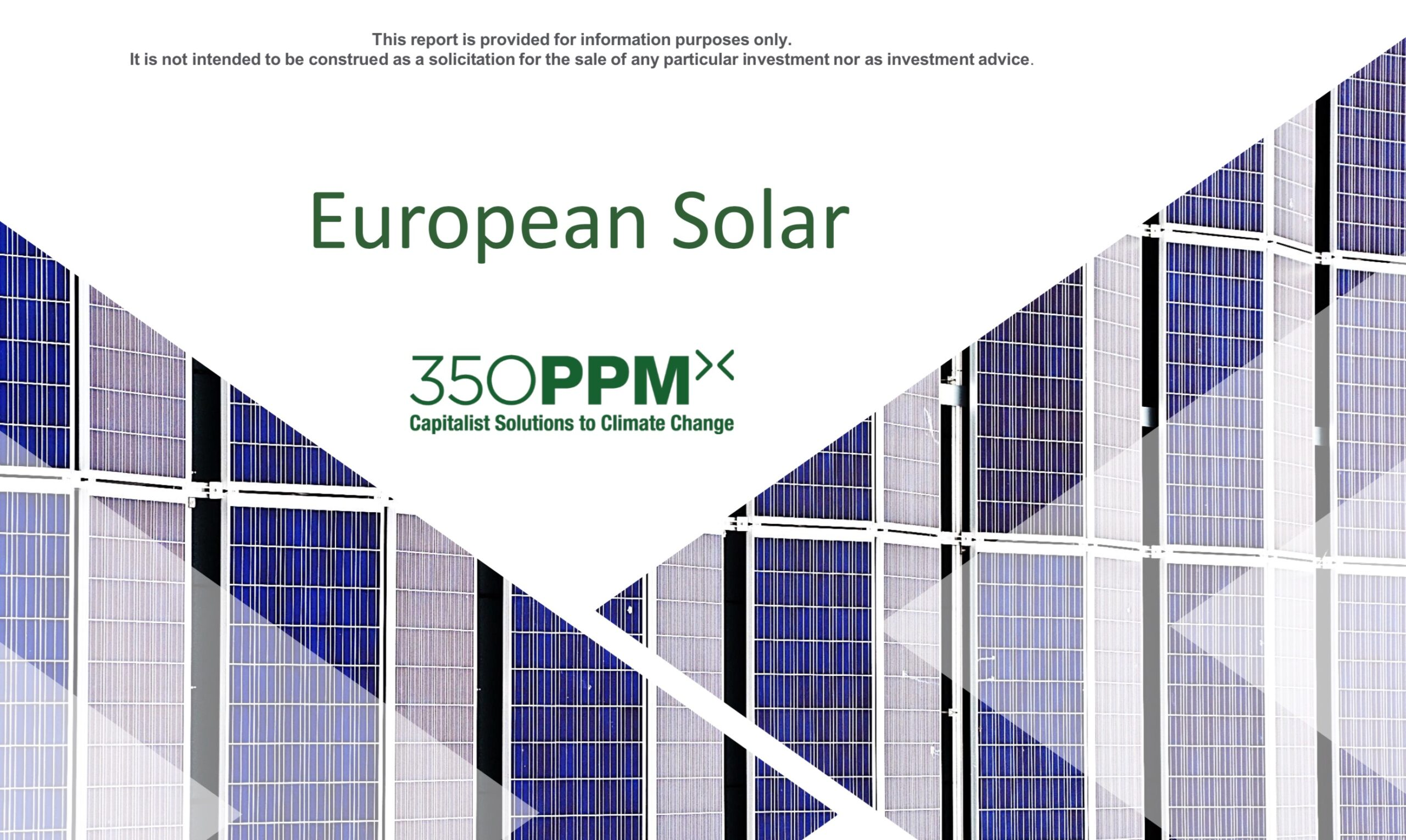 European Solar: Sector Research by 350 PPM Ltd
